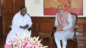Amma skupaj s predsednikom Vlade Indije Narendra Modi-jem